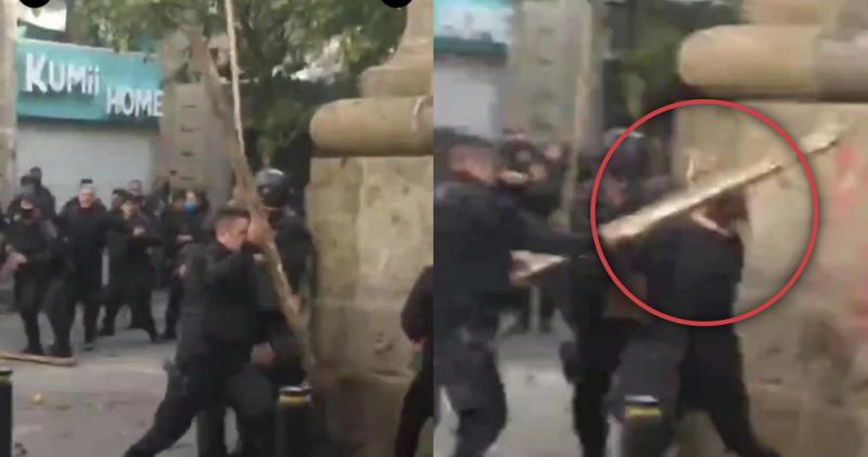 Policías de Jalisco reprimen a manifestantes ¡a palazos!